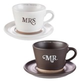 Mr. and Mrs. Mug and Saucer Set, 2 Mugs and Saucers