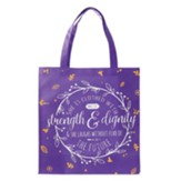 She Is Clothed With Strength and Dignity Tote Bag, Purple