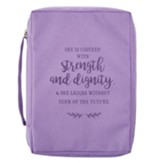 She Is Clothed With Strength and Dignity Bible Cover, Canvas, Purple, Medium