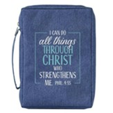 I Can Do All Things Through Christ Bible Cover, Canvas, Blue, Large