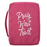 Pray Wait Trust Bible Cover, Canvas, Pink, Medium