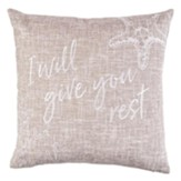I Will Give You Rest Pillow, Tan