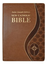 St. Joseph New Catholic Giant-Print Bible--soft leather-look, tan
