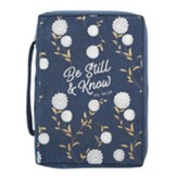 Be Still and Know Bible Cover, Canvas, Navy Blue, Large