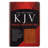 KJV Large Print Thinline, two-tone Faux Leather Brown Portfolio
