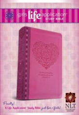 NLT Girls Life Application Study Bible, Pink Heart Imitation Leather - Slightly Imperfect