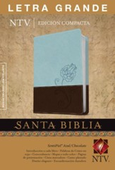 Edicion compacta NTV letra grande SentiPiel DuoTono azul/chocolate, NTV Large-Print Compact Bible--soft leather-look, blue/chocolate