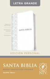 NTV Santa Biblia edicion personal letra grande, NTV Personal Size Large Print Bible, Imitation Leather, White - Slightly Imperfect