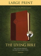 The Living Bible Large Print Edition, TuTone, LeatherLike, Tan, With thumb index