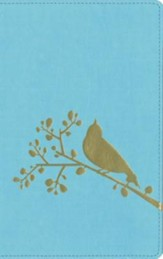 NIV Flora-Fauna Collection, Turquoise with Gold Foil Bird Design  - Slightly Imperfect