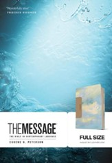 The Message Bible--soft leather-look, sky blue