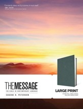 The Message, Large Print Edition: Deluxe Charcoal Linen  Hardcover
