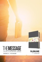 Message Slimline Bible--soft leather-look, black/spring wildflowers