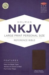 NKJV Large Print Personal Size Reference Bible, Brown Genuine Cowhide, Thumb-Indexed - Imperfectly Imprinted Bibles