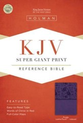 KJV Super Giant Print Reference Bible, Purple LeatherTouch, Thumb-Indexed - Imperfectly Imprinted Bibles