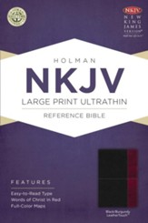 NKJV Large Print UltraThin Reference Bible, Slate Blue LeatherTouch - Slightly Imperfect