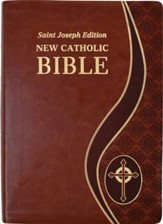 St. Joseph New Catholic Giant-Print Bible--soft leather-look, brown