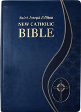 St. Joseph New Catholic Giant-Print Bible--soft leather-look, blue