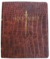 KJVer (Easy Reader) Personal Size Bible, Ultrasoft Walnut Alligator, Thumb Indexed