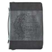 Be Strong and Courageous Bible Cover, LuxLeather, Black, Large