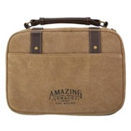 Amazing Grace Bible Cover, Canvas, Tan, Medium
