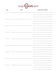 Guest of Our Church Register Refill Pages: 7 Ring Refill Pages - Pack of 25