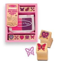 Wooden Butterfly and Heart Stamp Set   -