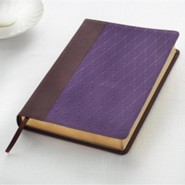 Bonded Leather Purple / Brown Large Print
