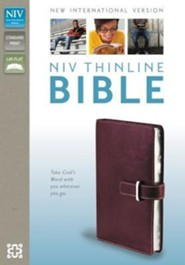NIV Thinline Bible, Italian Duo-Tone, Buckled, Cranberry  -
