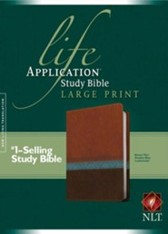 NLT Life Application Study Bible, Large Print TuTone Brown/Tan/Heather Blue Leatherlike - Imperfectly Imprinted Bibles