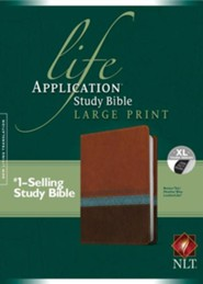 NLT Life Application Study Bible, Large Print TuTone Brown/Tan/Heather Blue Indexed Leatherlike