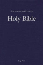 NIV Large-Print Pew and Worship Bible--hardcover, blue  -
