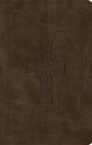 ESV Large Print Value Thinline Bible (TruTone, Olive, Celtic Cross Design), Leather, imitation, Green
