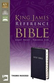 KJV Giant-Print Personal Size Reference Bible, Bonded Leather, Navy, Thumb Index  -     By: Zondervan Publishing