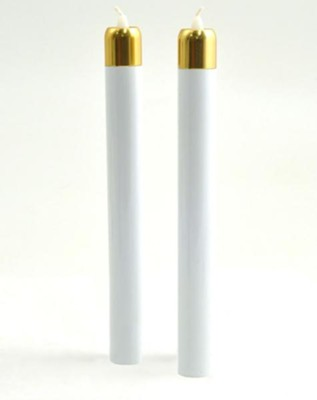 Tube Candles, 9 x 1, with Brasstone Tops, Set of 2  -