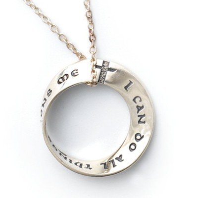 STERLING SILVER Philippians 4:13 Bible Verse Mobius Necklace I Can Do All Things