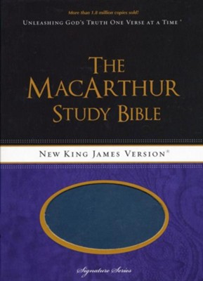 NKJV MacArthur Study Bible, Leathersoft Salmon & Dusk Blue  -     By: John MacArthur