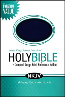 NKJV Essential Compact Large Print Reference Bible Leathersoft Rich Royal Blue  -