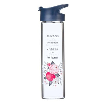 Best Teacher Ever Glass Water Bottle  -