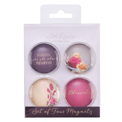 Blessed is She Who Believes Glass Magnets, Set of 4  -