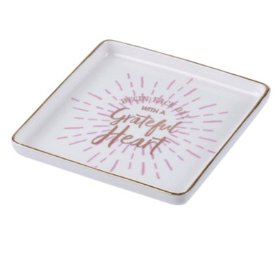 Begin Each Day Ceramic Trinket Tray  -
