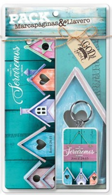 Juego de Marcador y Llavero - Mi casa y yo serviremos al Se&#241or (As for Me and My House, Bookmark & Keychain Gift Set)  -