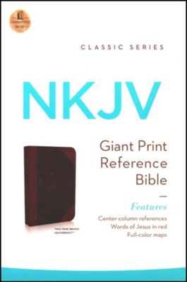 NKJV Giant Print Center-Column Reference Bible, Imitation Leather, Expresson/Auburn  -