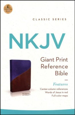 NKJV Giant Print Center-Column Reference Bible, Imitation Leather, Navy/Brown  -