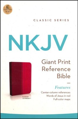 NKJV Giant Print Center-Column Reference Bible, Imitation Leather, Raspberry, Indexed  -