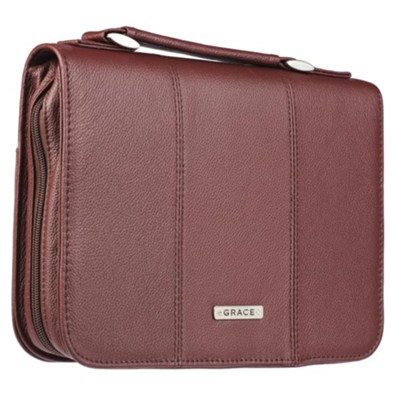 Grace Bible Cover, Genuine Leather, Burgundy, Large  -
