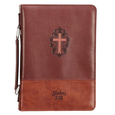 John 3:16 Bible Cover with Cross, LuxLeather Brown, Medium  -