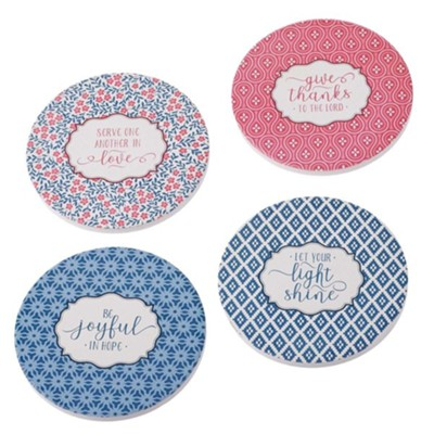 Assorted Pattern Ceramic Coasters, Set of 4  -