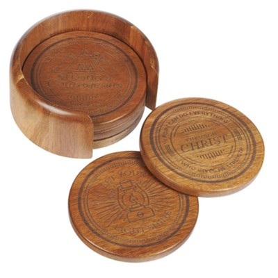 Assorted Design Wood Coasters, Set of 4  -