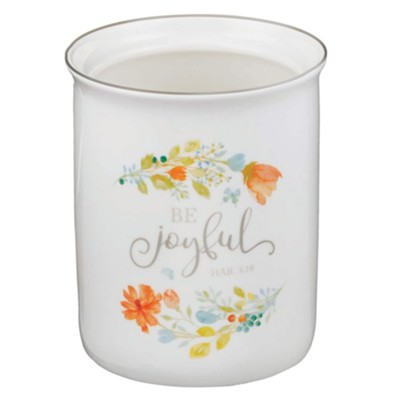 Be Joyful Ceramic Utensil Holder, Floral  -
